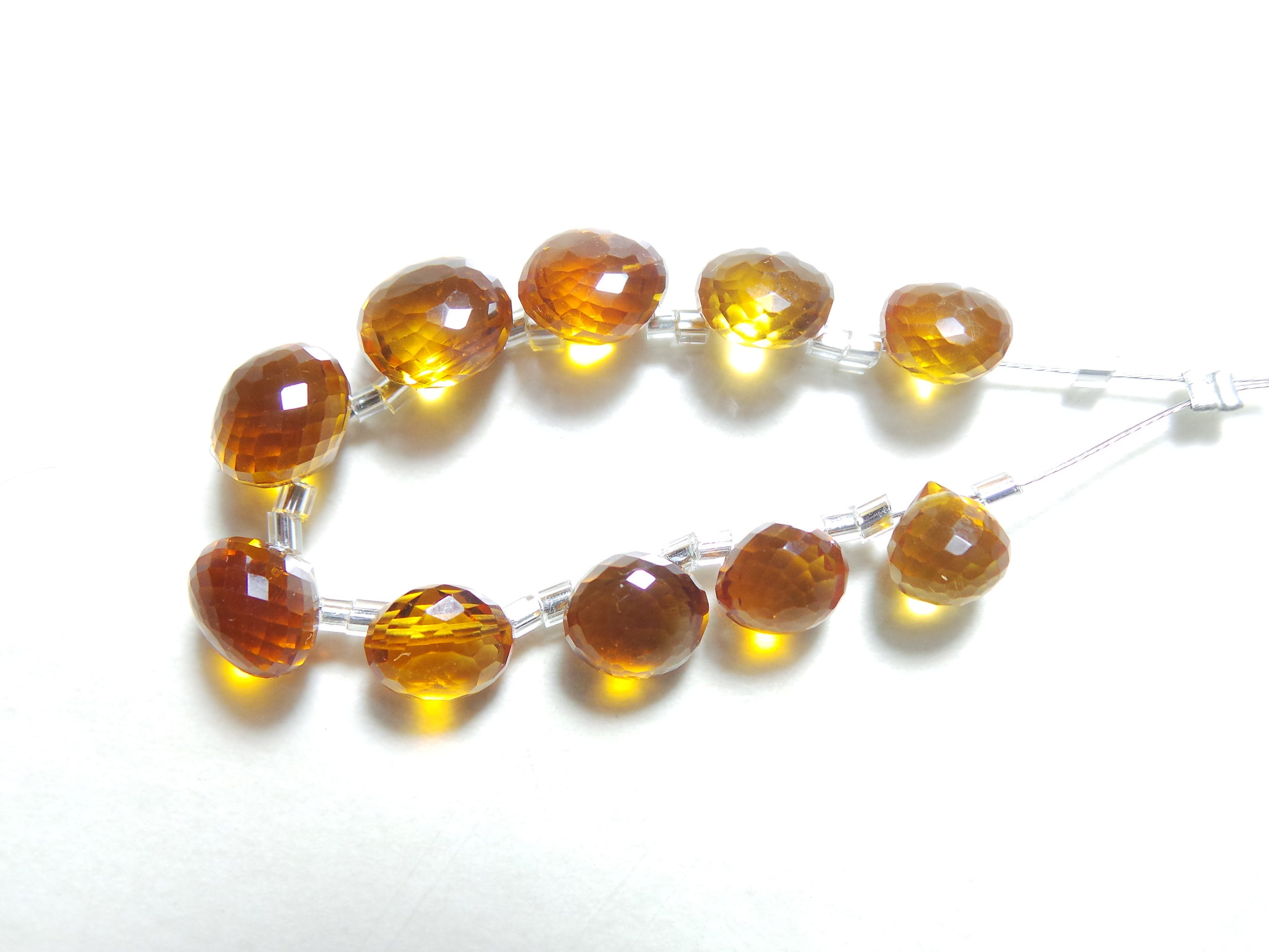 Citrine For Jewelry Making Loose Gemstone. 14 Pieces Natural Citrine Faceted Pear Shape Briolletes Gemstone Size -10.5x7.5-7x5 MM Approx