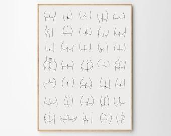 Nice Bum Body Positive  Print. Quirky Art. Butt Art Print , Funny Bathroom Art minimal wall print, self love, body positive, grey background