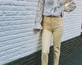 Escada vintage gingham high waist trousers checked yellow beige preppy designer