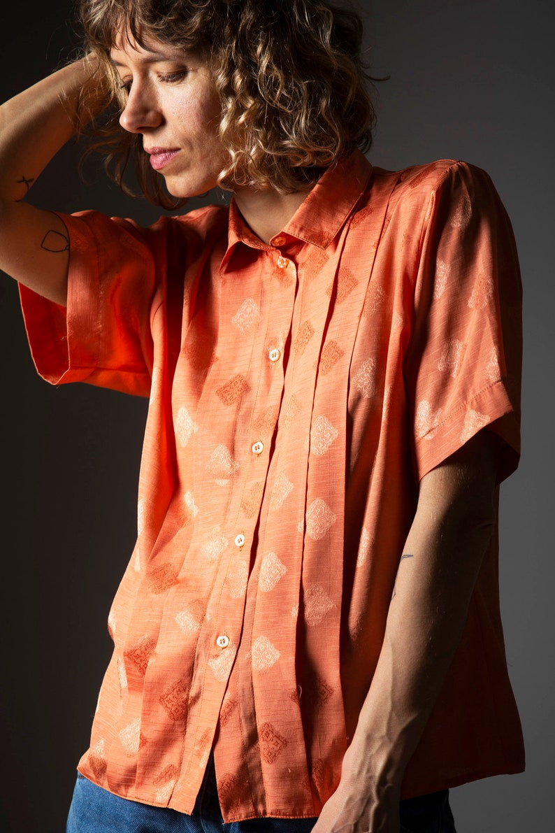 Vintage orange women/'s shirt  retro blouse from the 80-90s  short sleeves retro shirtsize M