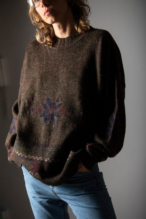 Vintage pullover brown / unisex alpaca and wool sw