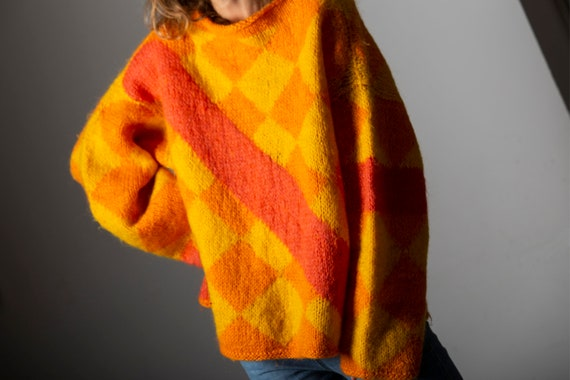 Vintage handmade mohair and wool sweater from the