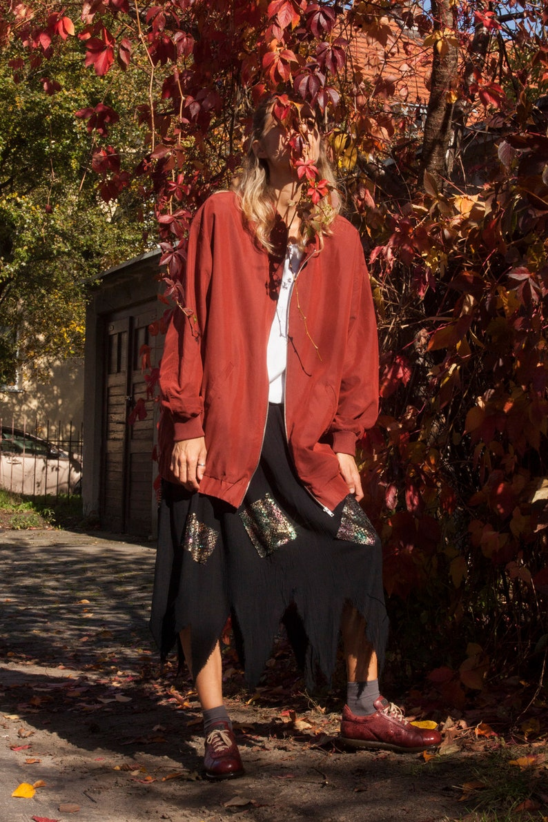 Oversized bomber jacketwomen/'s burgundy jacketspring jacketsize m