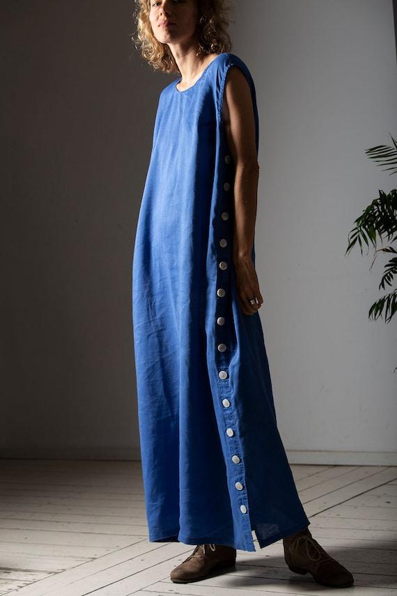 Handmade Linen Dress / Blue Maxi Vintage Dress / 9