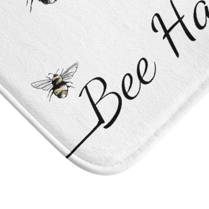 Indoor Bath Rug Bee Happy Bath Mat Shower Accessories Cool Bathroom Decor Save The Honey Bee Decor