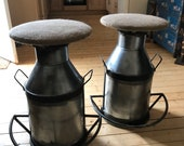 Industrial Steampunk retro/vintage Stool Seat With Milk Can Man cave/Valentines gift/Hallway/Home Decor/Office/Dining Chair