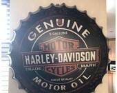 Harley Davidson Industrial Look 30cm Metal Tin Bottle Top Cap Replica HOME Decor Custom