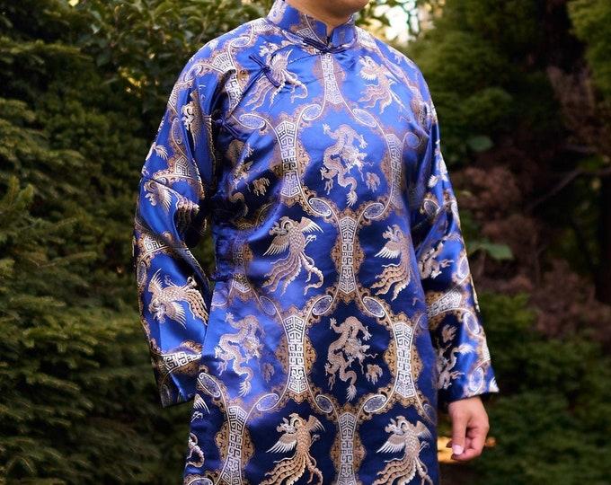 Pre-made Men Ao Dai in ROYAL BLUE - Áo Dài Nam (No Pants)