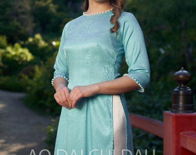 Pre-made Vietnamese Bridesmaid Ao Dai With Pants in Light Blue - Áo Dài Dâu Phụ