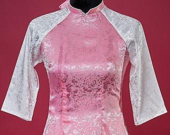 Pre-made Vietnamese Ao Dai in Pink Soft Silk With Pants - Áo Dài Gấm Kèm Quần