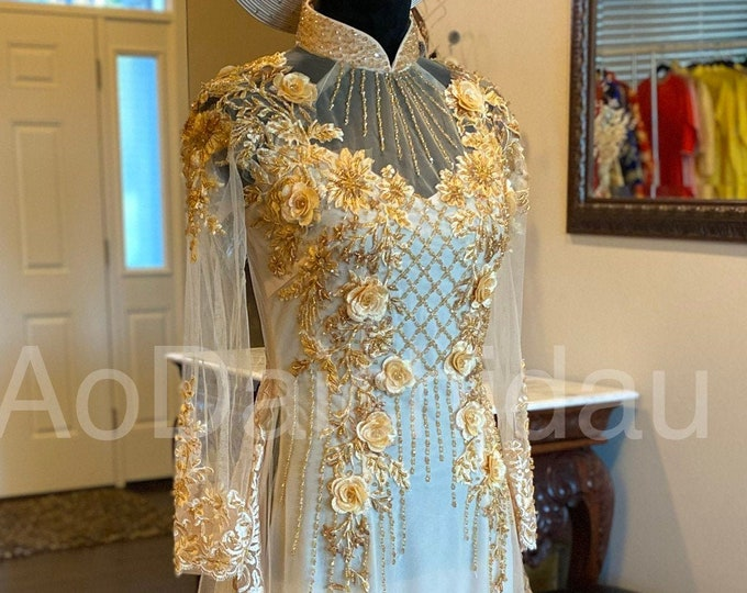 Custom Size Wedding Ao Dai in Light Gold with Beautiful Gold Details and Long Train - Áo Dài Cưới