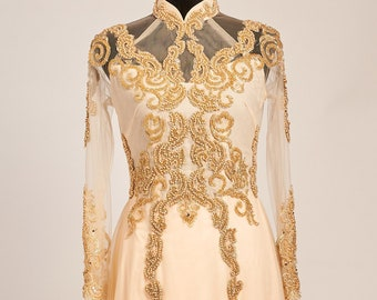 Wedding Ao Dai In Light Gold with Long Train - Made To Order