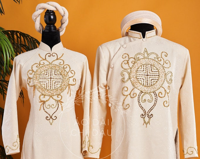 Wedding Couple Ao Dai in Ivory with Beautiful Details - Áo Dài Cưới Cặp Đôi