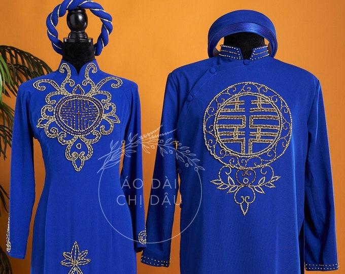 Wedding Couple Ao Dai in Blue with Beautiful Details - Áo Dài Cưới Cặp Đôi