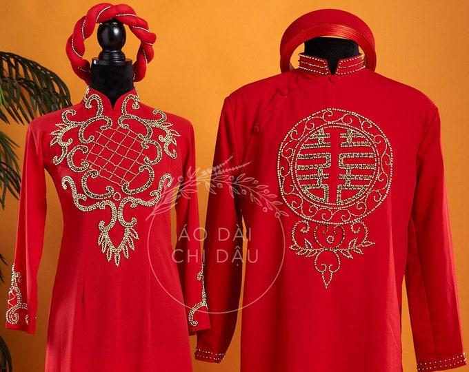 Wedding Couple Ao Dai in Red with Beautiful Details - Áo Dài Cưới Cặp Đôi