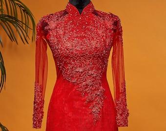 Wedding Ao Dai in Red with Beautiful Details - Áo Dài Cưới