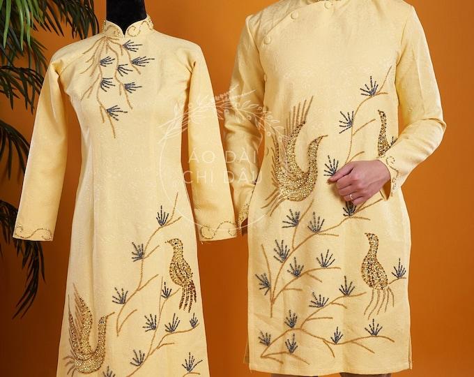Wedding Couple Ao Dai in Yellow with Beautiful Details - Áo Dài Cưới Cặp Đôi