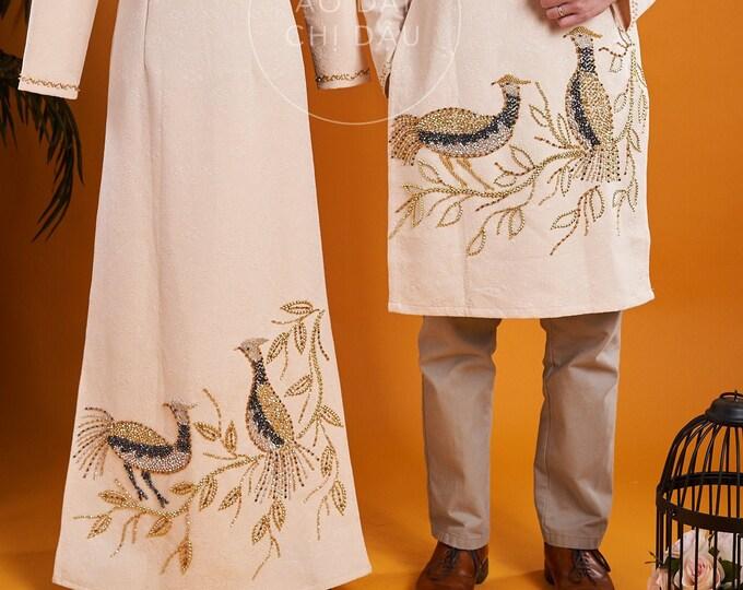 Wedding Couple Ao Dai in Light Gold with Beautiful Details - Áo Dài Cưới Cặp Đôi