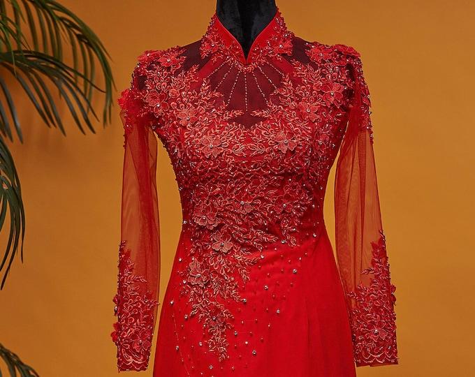 Custom Size Wedding Ao Dai in Red with Beautiful Details - Áo Dài Cưới