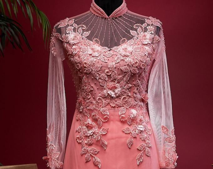 Wedding Ao Dai in Pink with Beautiful Details - Áo Dài Cưới
