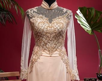 Wedding Ao Dai in Light Gold with Beautiful Details - Áo Dài Cưới