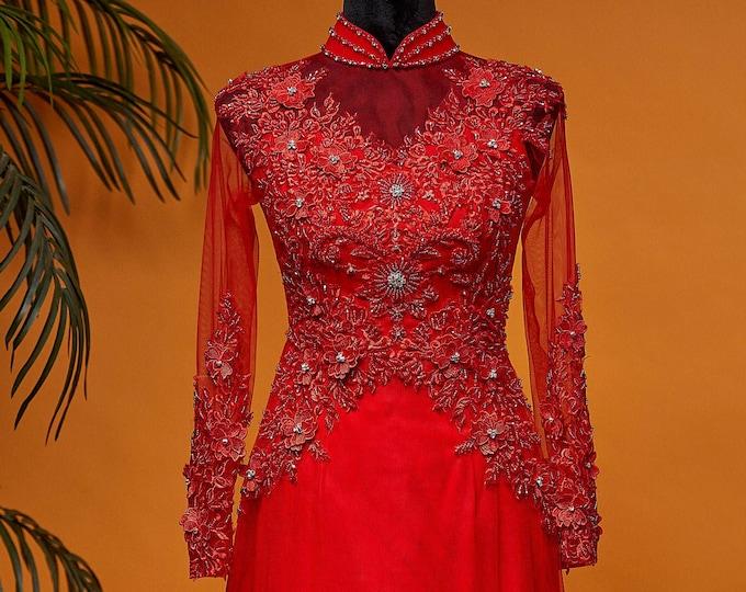 Custom Size Wedding Ao Dai in Red Floor Length with Beautiful Beading Details - Áo Dài Cưới