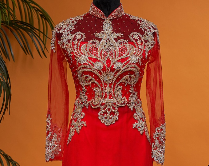 Custom Size Wedding Ao Dai in Red Floor Length with Gold Color Beading Details - Áo Dài Cưới