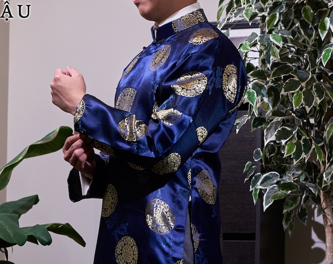 Pre-made Men Ao Dai in Blue - Áo Dài Nam (No Pants)