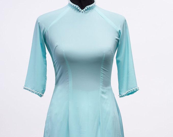 Pre-made Vietnamese Bridesmaid Ao Dai With Pants in Turquoise - Áo Dài Dâu Phụ