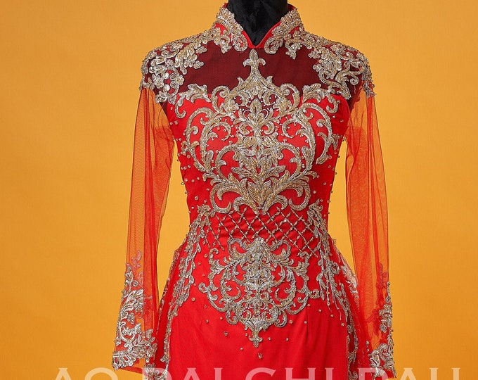 Custom Size Wedding Ao Dai in Red with Beautiful Gold Details and Long Train - Áo Dài Cưới
