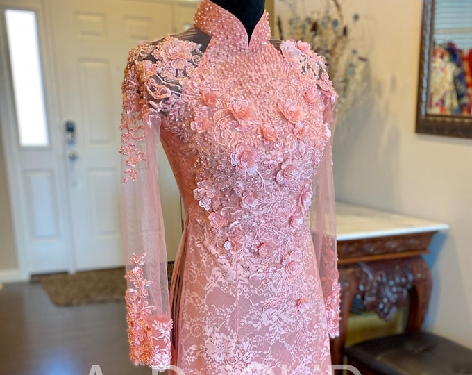 Custom Size Wedding Ao Dai in Pink with Beautiful Details Floor Length Made-to-order - Áo Dài Cưới