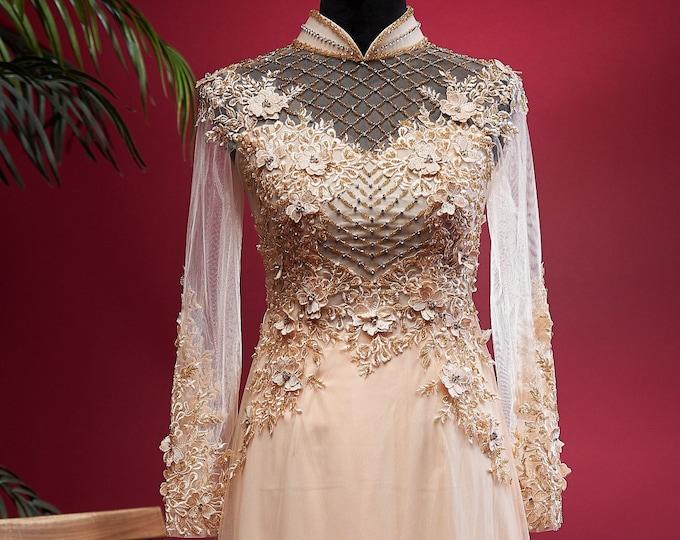 Custom Size Wedding Ao Dai in Light Gold with Beautiful Details - Áo Dài Cưới