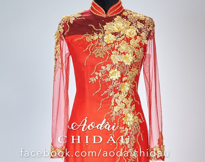 Wedding Ao Dai in Red with Gold Color Details - Áo Dài Cưới
