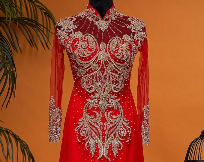Wedding Ao Dai in Red Floor Length with Gold Color Beading Details Custom-size - Áo Dài Cưới