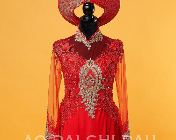 Wedding Ao Dai in Red with Beautiful Gold Details and Long Train - Áo Dài Cưới