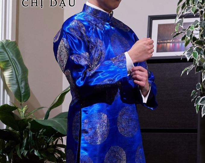 Pre-made Traditional Vietnamese Blue Men Ao Dai - Áo Dài Truyền Thống Nam (No Pants)