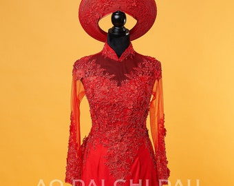 Wedding Ao Dai in Red with Beautiful Details and Long Train - Áo Dài Cưới