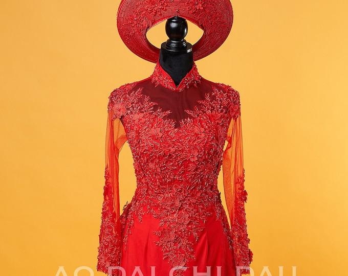 Custom Size Wedding Ao Dai in Red with Beautiful Details and Long Train - Áo Dài Cưới