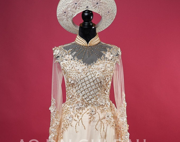 Wedding Ao Dai in Light Gold with Beautiful Details and Long Train - Áo Dài Cưới