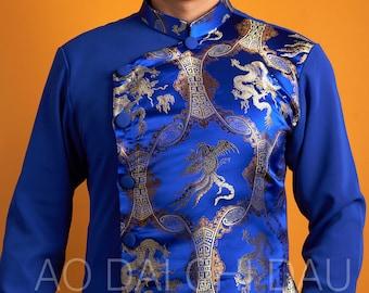 Pre-made Modernized Vietnamese Blue Men Ao Dai - Áo Dài Cách Tân Nam Màu Xanh