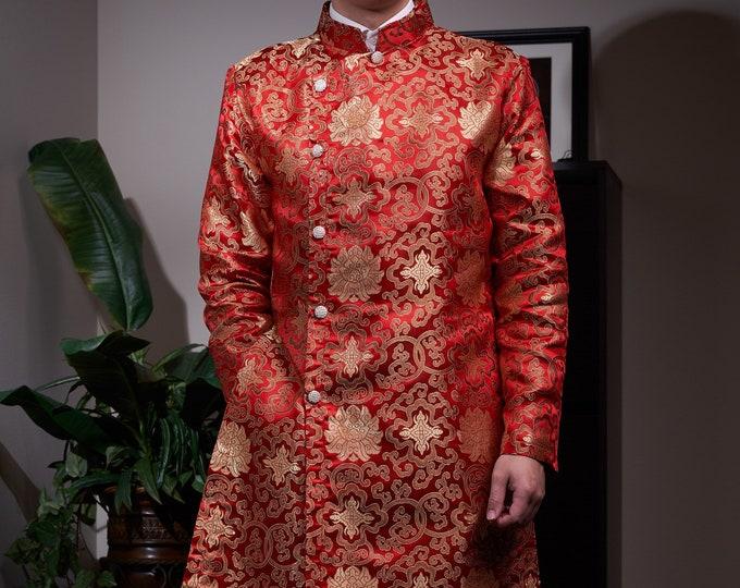 Vietnamese Men Ao Dai in Red and Gold - Áo Dài Cách Tân Nam