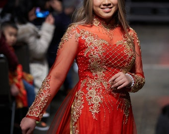 Wedding Couple Ao Dai in Red with Gold Color Details - Áo Dài Cưới