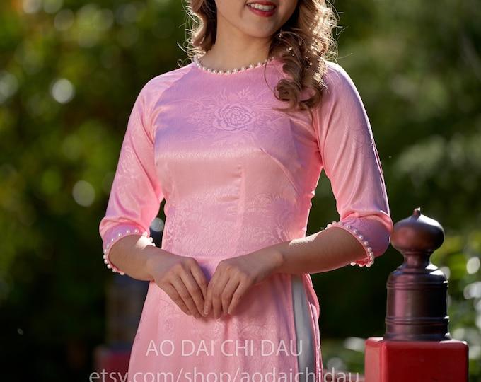 Pre-made Vietnamese Bridesmaid Ao Dai With Pants in Pink - Áo Dài Dâu Phụ