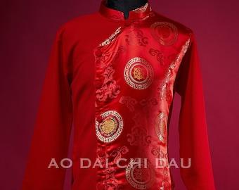 Pre-made Men Ao Dai in Red - Áo Dài Cách Tân Nam (no pants)