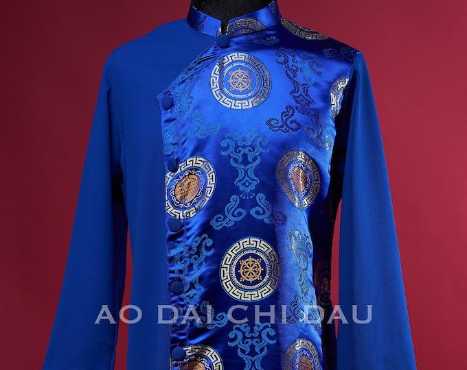 Pre-made Vietnamese Blue Men Ao Dai - Áo Dài Cách Tân Nam Màu Xanh