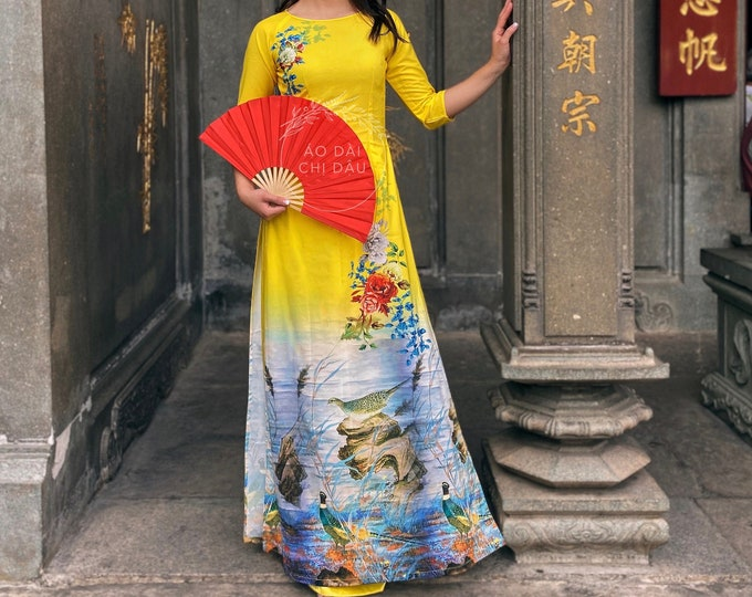 Pre-made Vietnamese Ao Dai in Yellow with 3D Print - Áo Dài Tết Kèm Quần