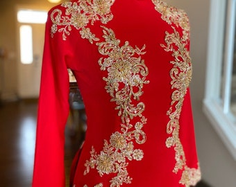 Custom Size Wedding Ao Dai in Red and Gold with Beautiful Details - Áo Dài Cưới