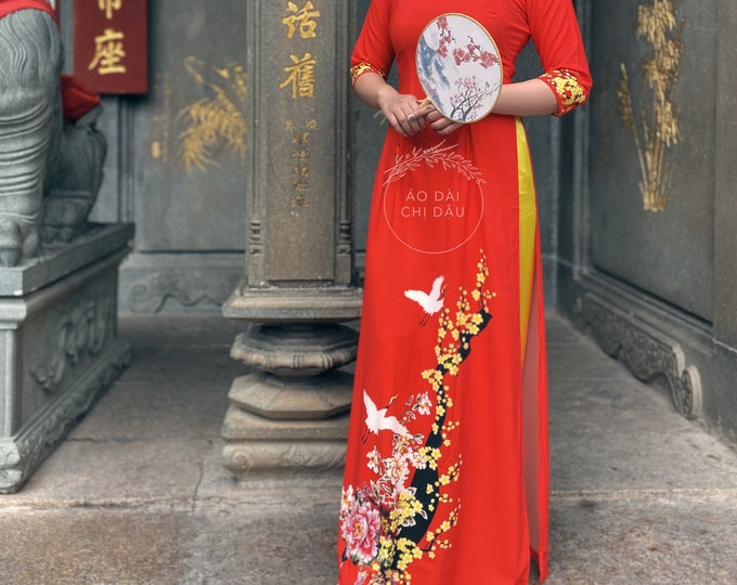 Pre-made Vietnamese Ao Dai in Red with Floral Print - Áo Dài Tết Kèm Quần