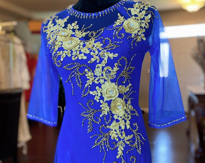 Vietnamese Ao Dai Double Layers with Hand-beading Details in Blue
