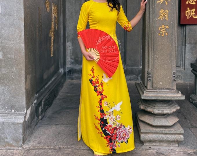 Pre-made Vietnamese Ao Dai in Yellow with Floral Print - Áo Dài Tết Kèm Quần